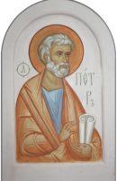 Икона апостола Петра. Роспись на белом камне